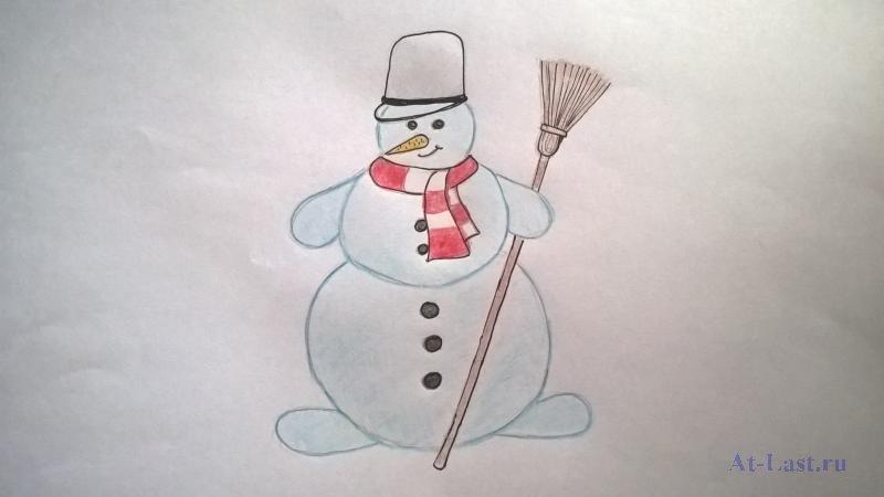 Картинка снеговик карандашами